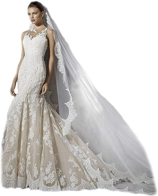 Passat Ivory 1tier 3m Lace Veils Genuine Alencon Lace Applique