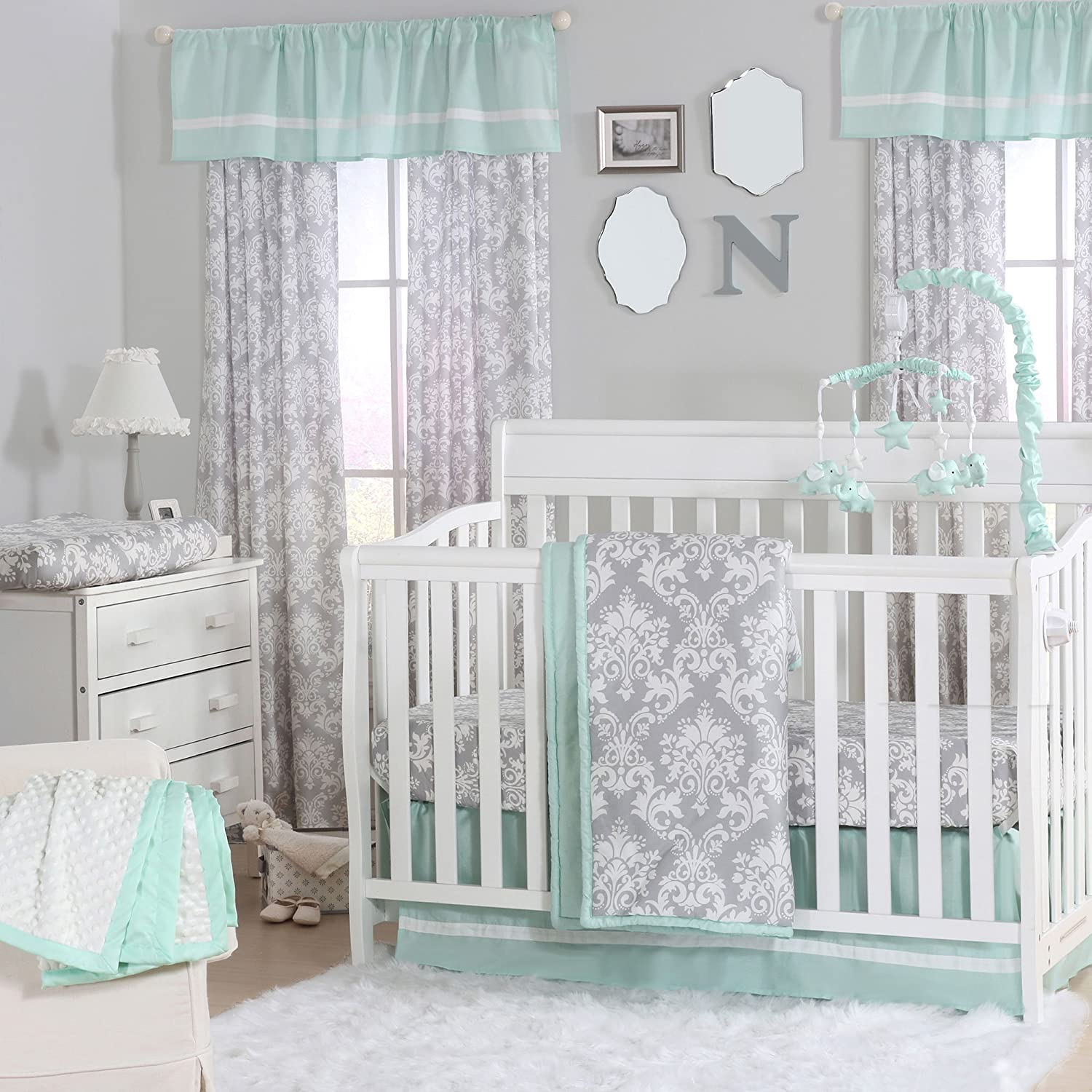 amazon com grey damask and mint green 4 piece baby crib bedding
