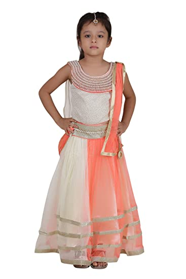 9de1266effd Qeboo Girls Party Wear Ethnic - Embroidered Cotton Net Lehenga Choli  Dupatta Set with Sizes from 3 Years Old to 9 Years Old  Amazon.in  Clothing    ...