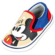 Joah Store Kids Boys Girls Mickey Mouse Slip-on Comfy Fashion Casual Sneakers Beige Red Blue Shoes (11 M US Little Kid, Mickey Mouse)