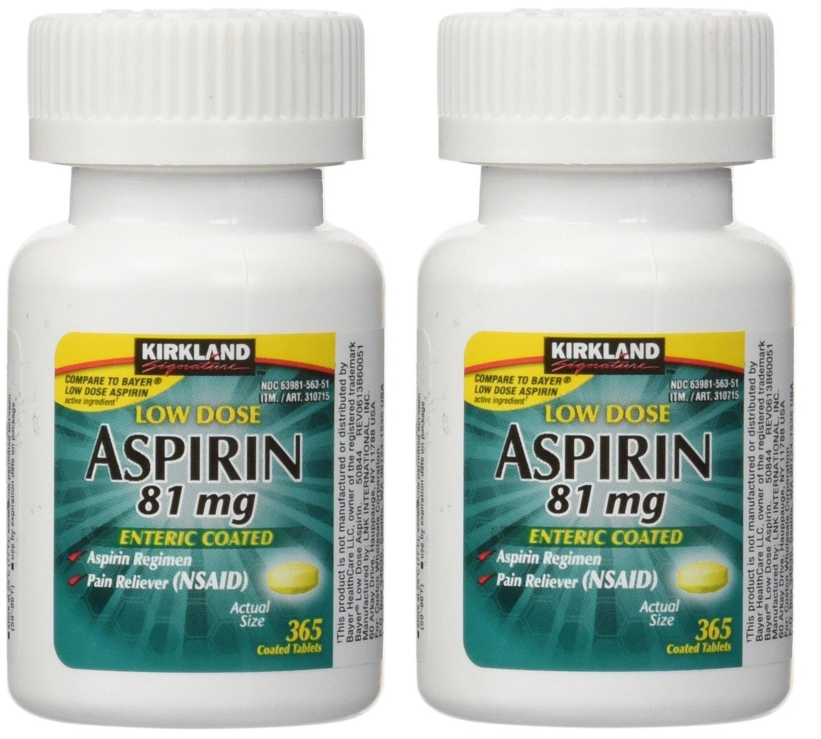 Kirkland Low Dose Aspirin 81 Milligram 365 Enteric Coated Tablets, 2 Pack