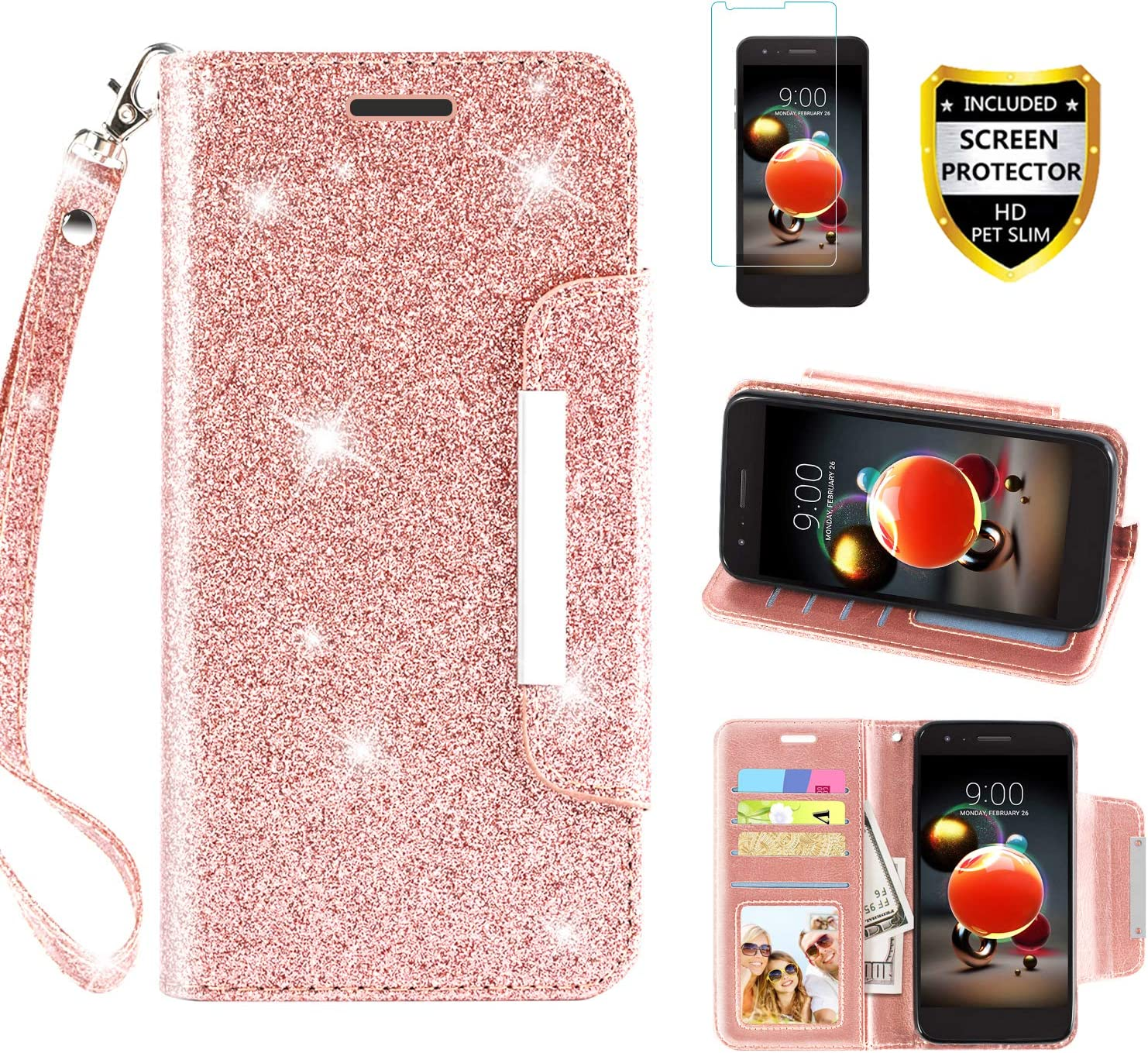 LG Aristo 2 Case, Aristo 3/Rebel 4 LTE/Aristo 2 Plus/Phoenix 4/Zone 4/Tribute Dynasty/Fortune 2/Risio 3/K8+2018 Plus Phone Case Wallet with Screen Protector Wrist Strap for Women Girls, Rose Gold