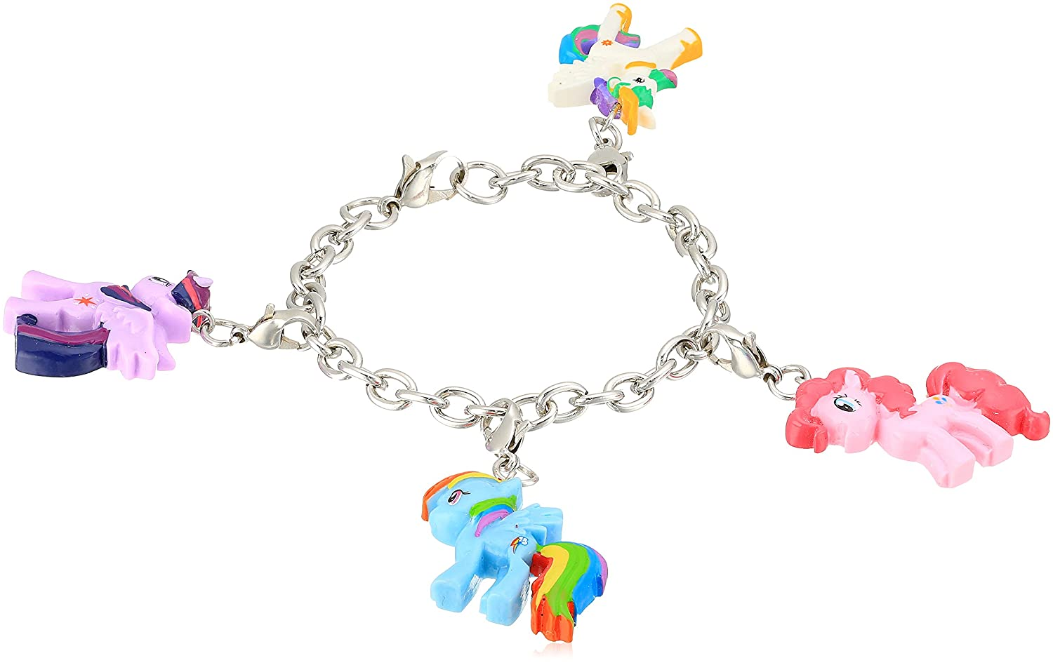 My Little Pony Charm Bracelet for Girls; Rainbow Dash, Twilight Sparkle Jewelry World Trade Jewelers MYW-5003S-AS