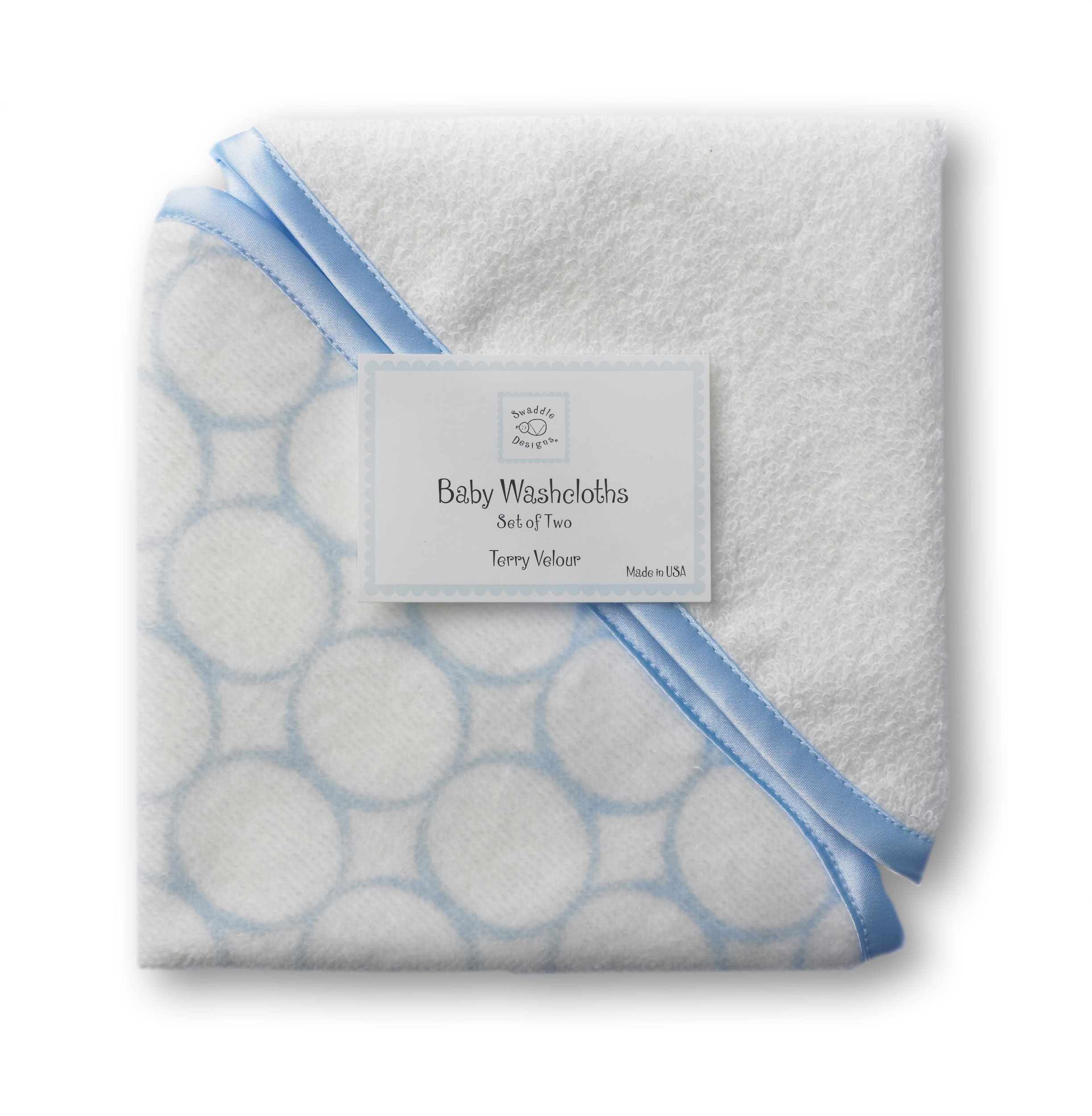 SwaddleDesigns Organic Cotton Terry Velour Baby Washcloths, Set of 2, Pastel Blue Mod Circles with Satin Trim