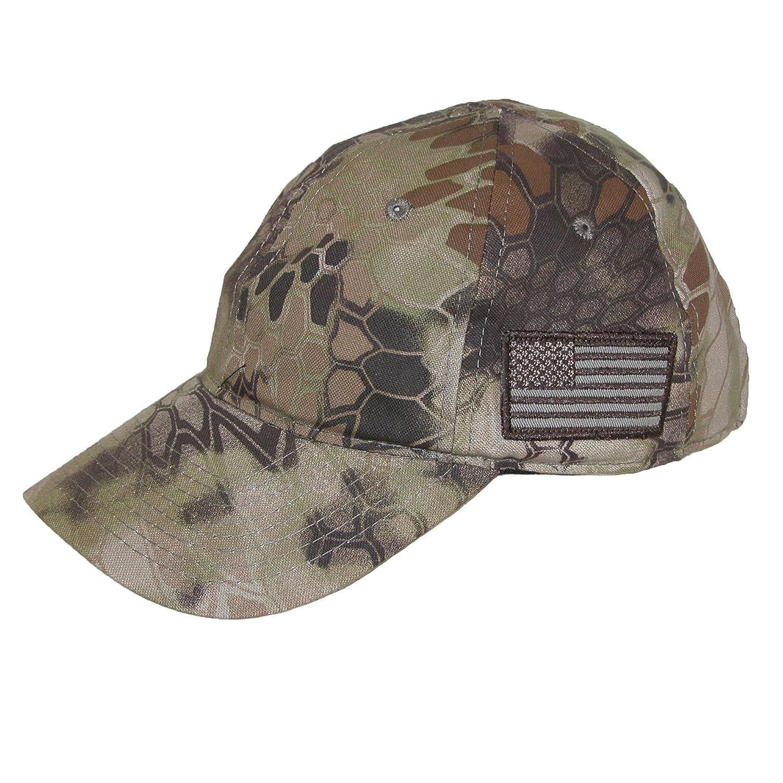 Kryptek Camouflage American Flag Baseball Cap, Highlander Khaki TAC600