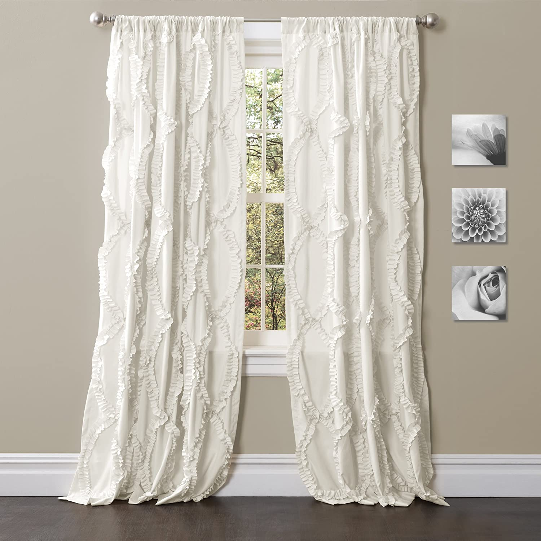 "Lush Decor Avon Window White Panel for Living Room, Dining Room, Bedroom (Single Curtain), 95"" x 54"""