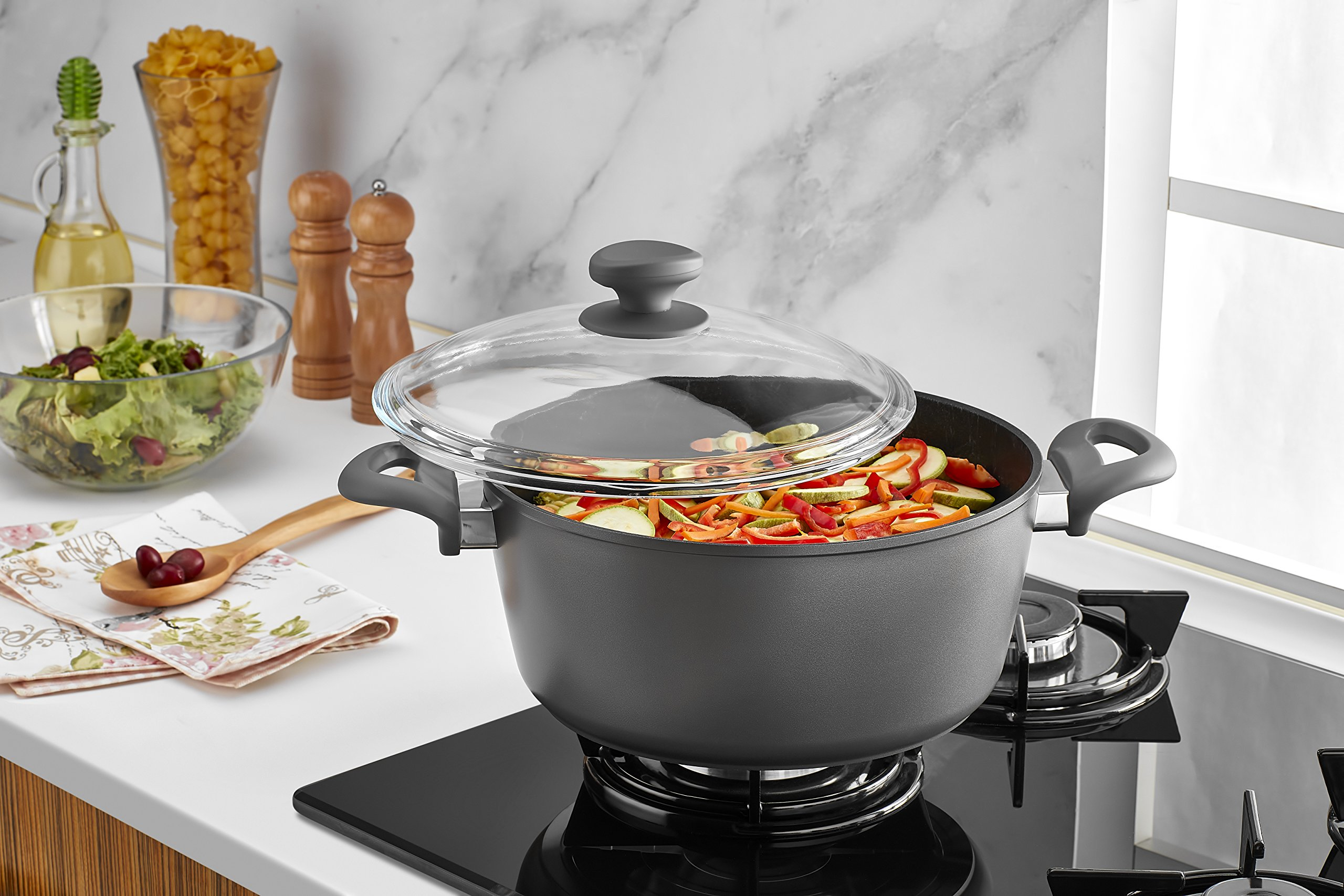 Saflon Titanium Nonstick 8-Quart Stock Pot with Tempered Glass Lid, 4mm Forged Aluminum with PFOA Free Coating from England by SAFLON (Image #5)