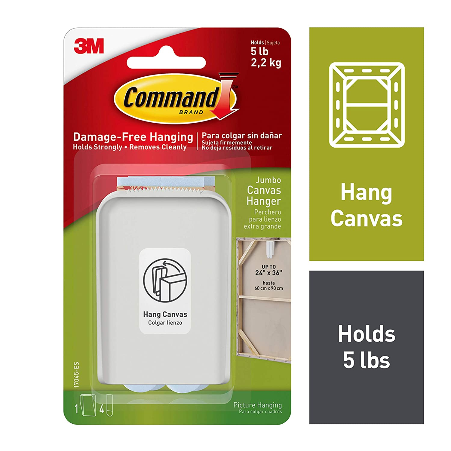 Command Jumbo Canvas Hanger, Holds 5 lbs, Indoor Use, Decorate Damage-Free, 1 hanger, 2 strips (17045-ES)