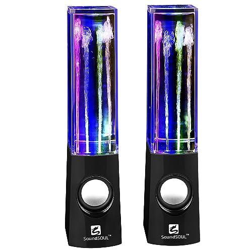 SoundSOUL Enceinte Portable à jet d'eau, Haut Parleur fontaine de danse, Enceinte gadget idéal pour la soirée, wired water speaker pour l'Ordinateur, Iphone, MAC,  Lecteur MP3/4 (Noir)