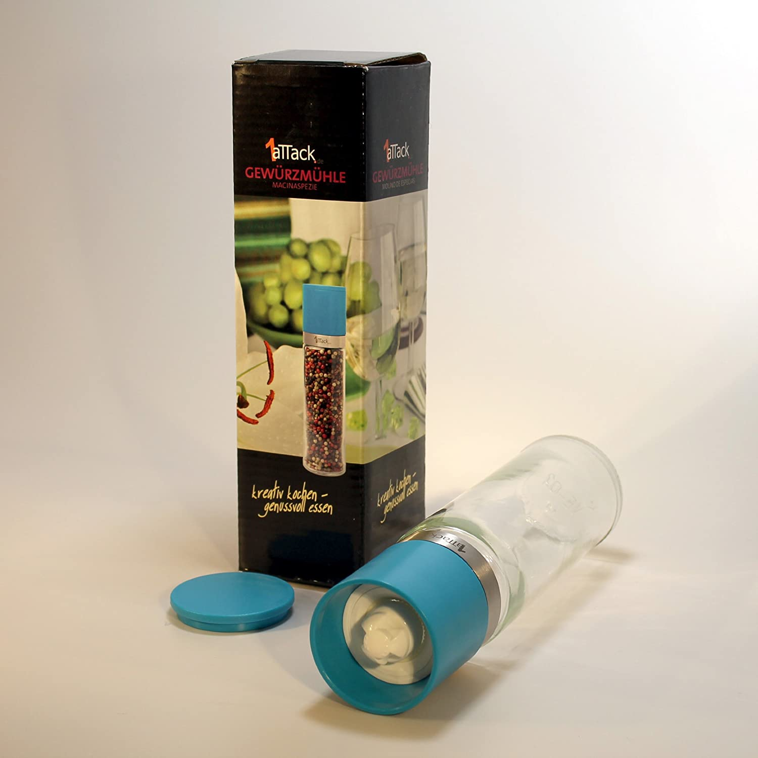 230ml turquoise blue blue without spice 1aTTack.de Pepper and salt mill with adjustable ceramic grinder chili