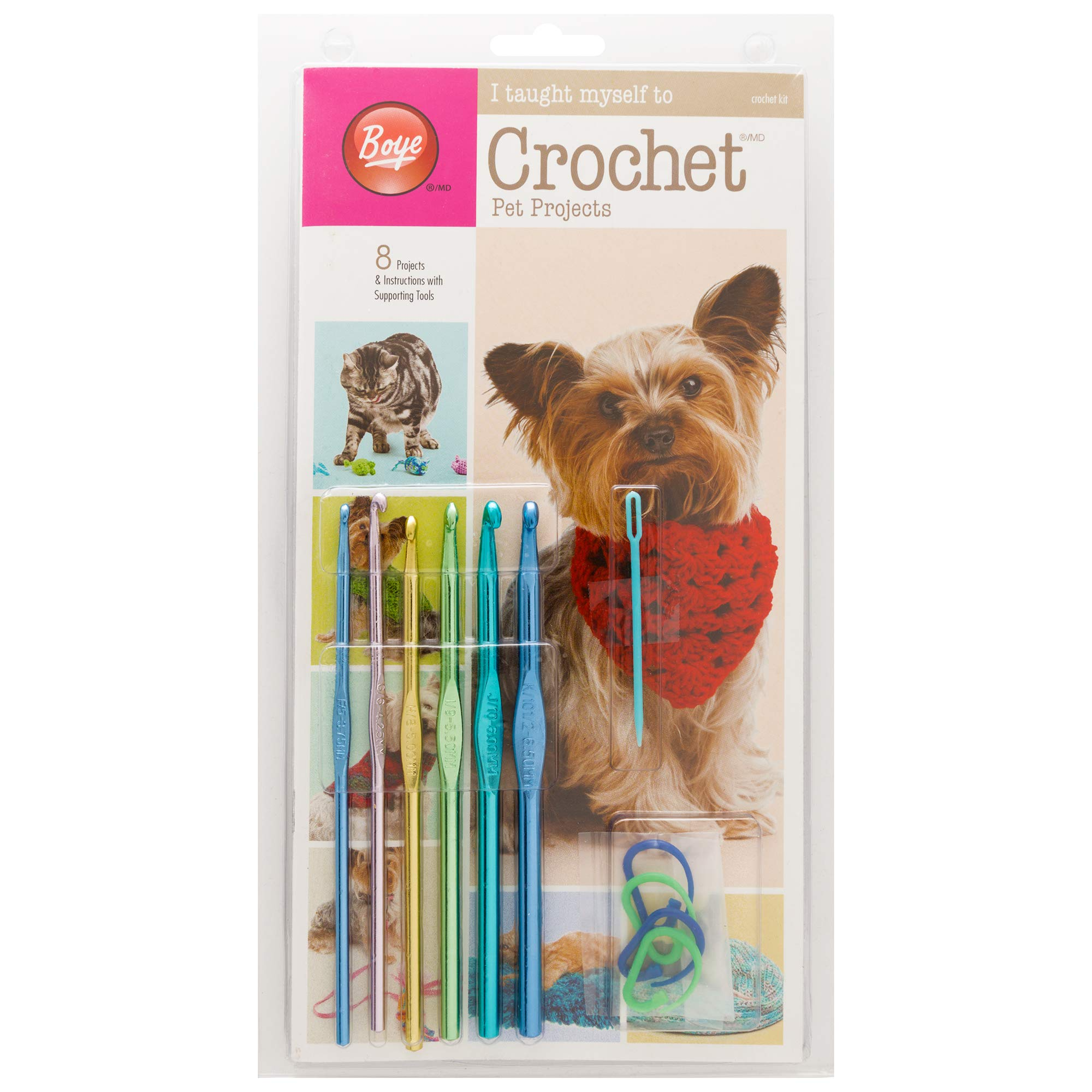 Boye Learn to Crochet Pet Clothing and Accessories Pattern Kit, 8 Projects