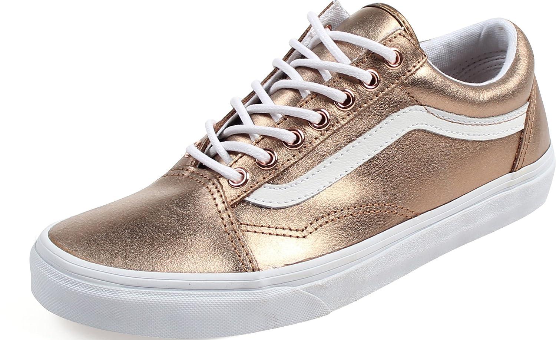 Vans Unisex Old Skool Classic Skate Shoes B01N06JSDA 7.5 B(M) US Women / 6 D(M) US Men (Metallic) Rose Gold/True White