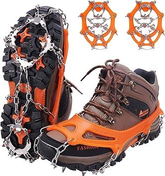 WIN.MAX Crampones, 19 Garras de Dientes Crampones Cubierta Antideslizante de Zapatos con Cadena de Acero Inoxidable para Excursiones Pesca Escalada ...