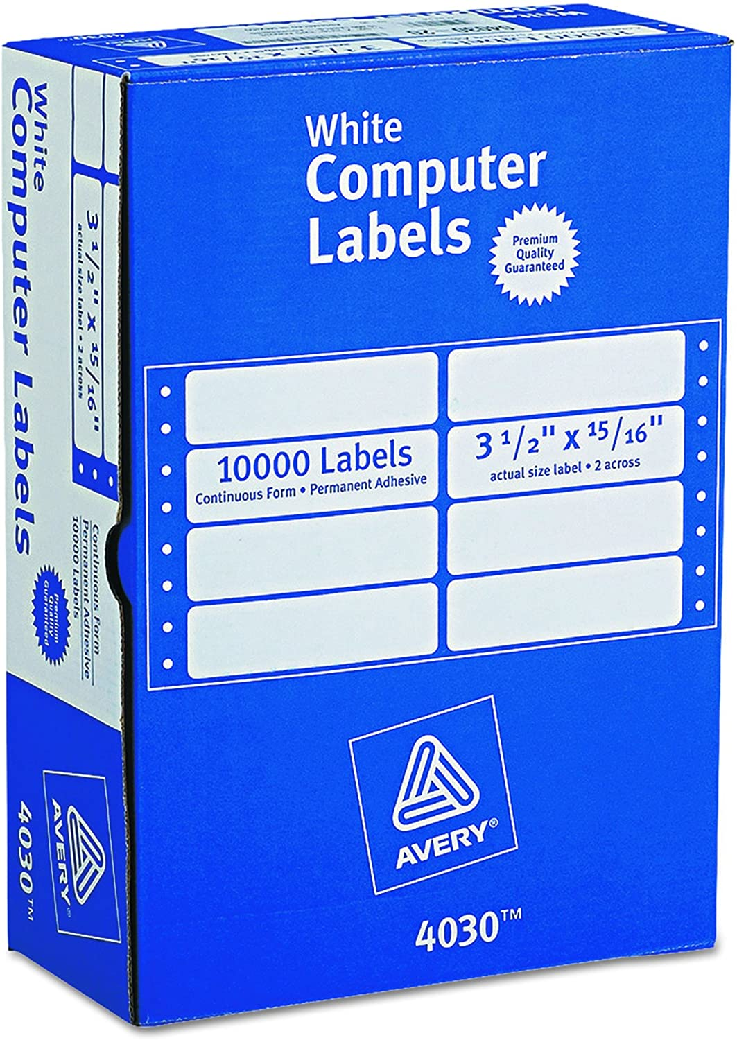 Avery Continuous Form Computer Labels for Pin-Fed Printers 3-1/2 x 15/16, Box of 10, 000 (4030), White : Address Labels : Office Products