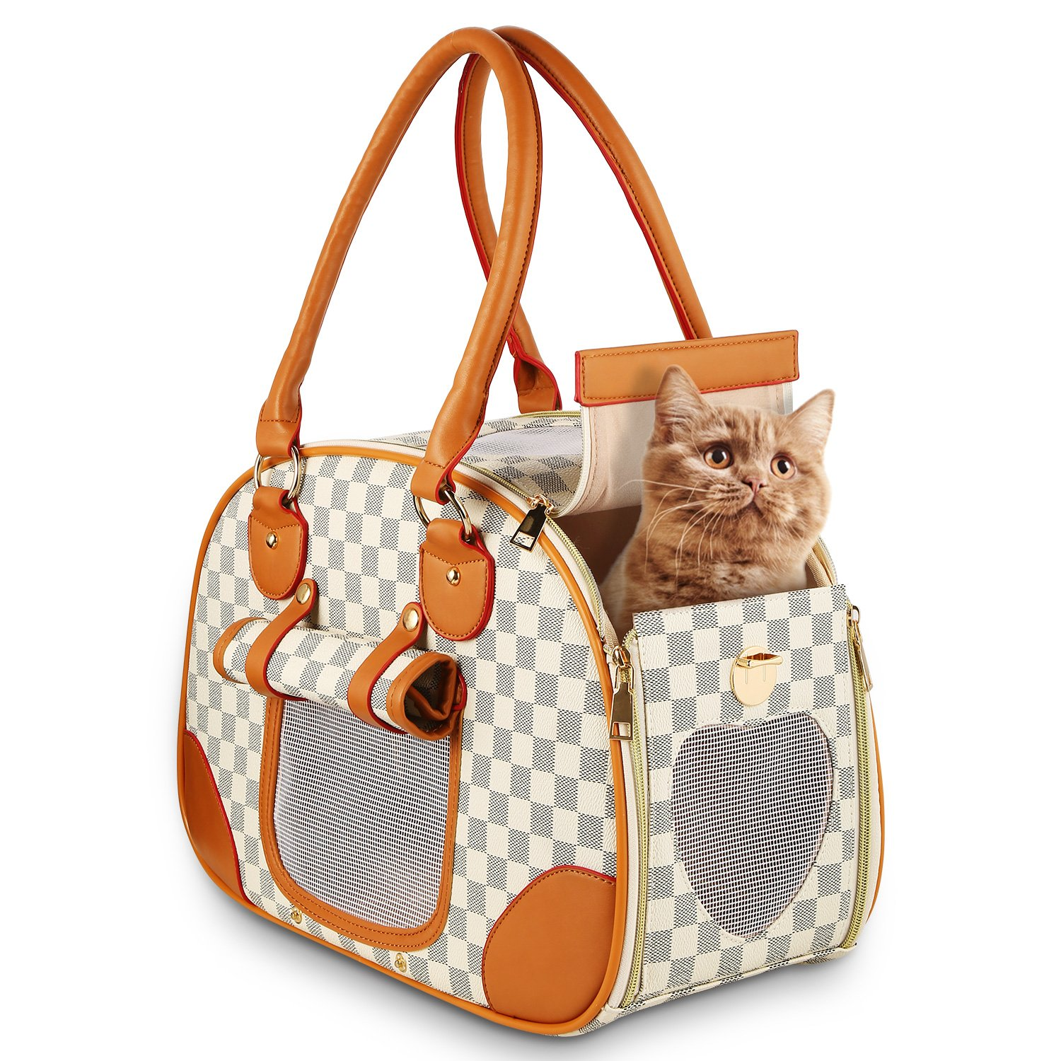 wot i Soft Sided Pet Carrier, Cat Carrier Dog Carrier Airline Approved Pet Carrier Suitable for Small Dogs and Cats, Medium Cats and Dogs, Puppy, Kittens, Small Animals, Luxury PU Leather Travel Bag by wot i (Image #1)