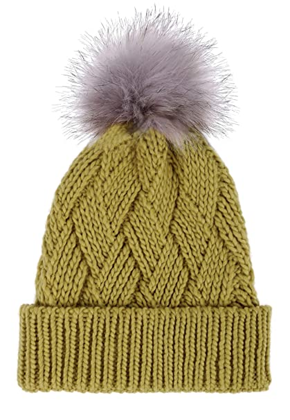 c91f402be TAUT Adorable Faux Fur Pom Criss Cross Cable Knit Beanie Hat - Assorted  Colors