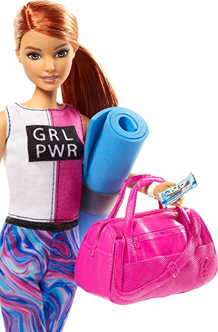 Barbie Fitness Doll, Red-Haired, with Puppy and 9 Accessories