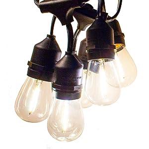 Hometown Evolution, Inc. E26 Outdoor Commercial String Lights with Suspended Socket for Weatherproof Heavy Duty Vintage Outside Lighting (100 Foot 50 Socket, S14 LED Filament 1 Watt Bulbs)