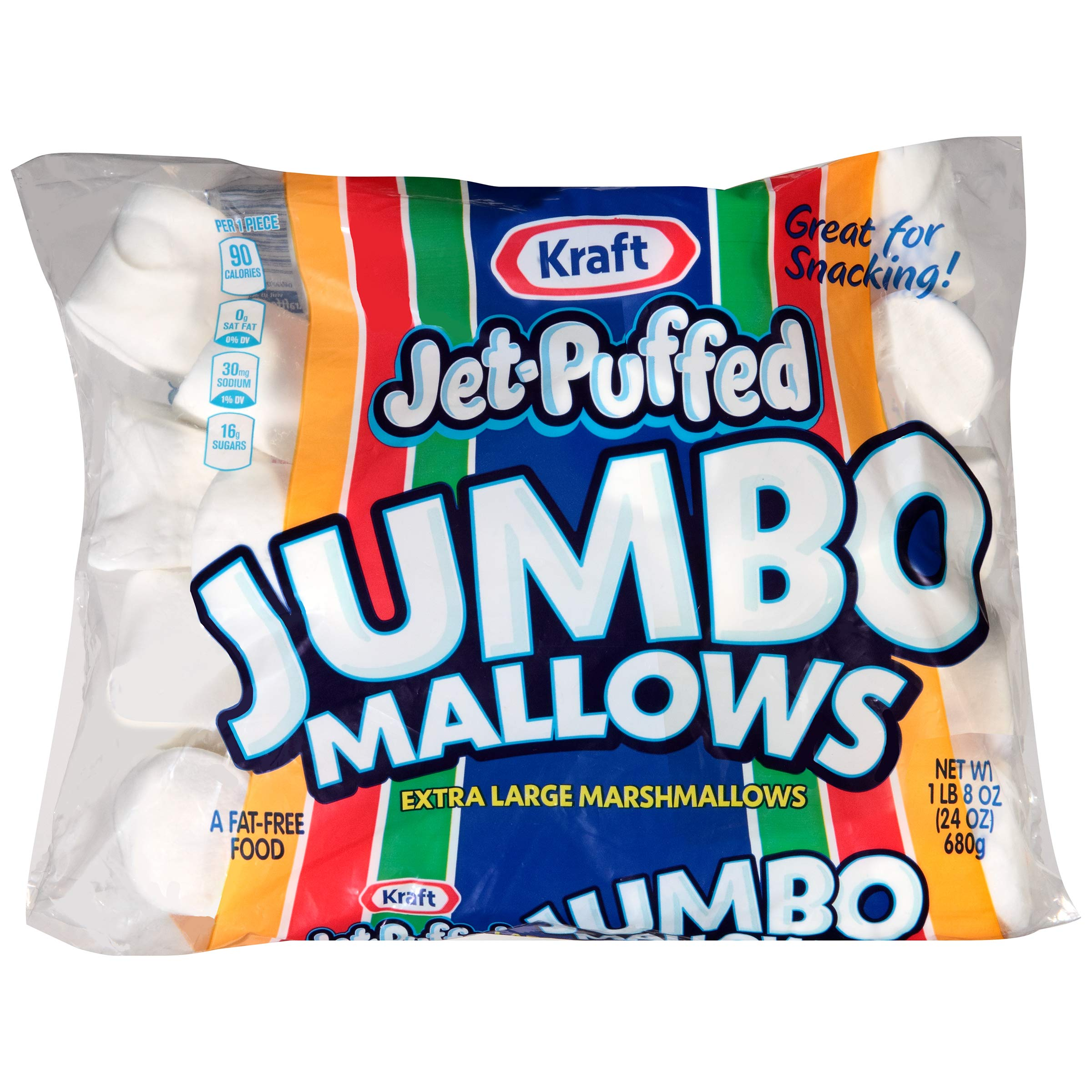 Jet Puffed Kraft Jumbo Mallows Marshmallows, Extra Large, 24 Ounce (Pack of 8) by Jet-Puffed