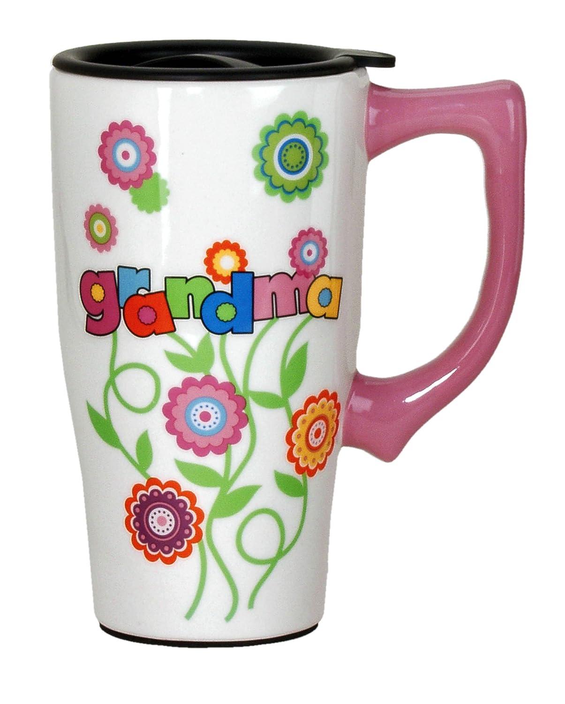 Multi Colored 12493 Spoontiques Grandma Flowers Travel Mug