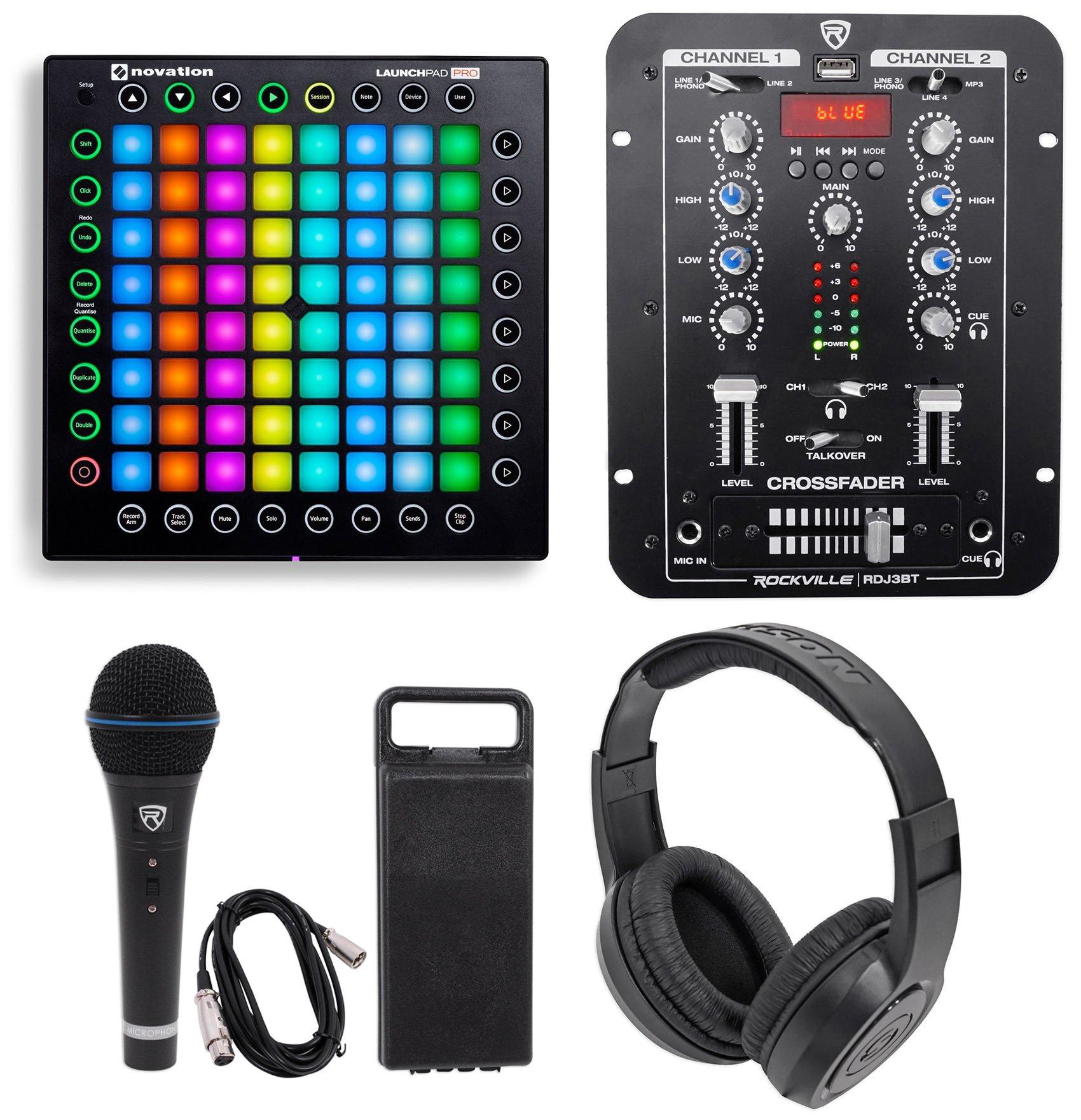 Novation Launchpad Pro USB MIDI RGB 64-Pad DJ Controller+Mixer+Headphones+Mic by Novation