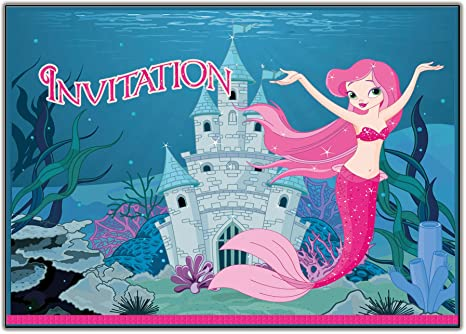 Lot De 12 Cartes D Invitation La Petit Sirene Princesse Fee Avec