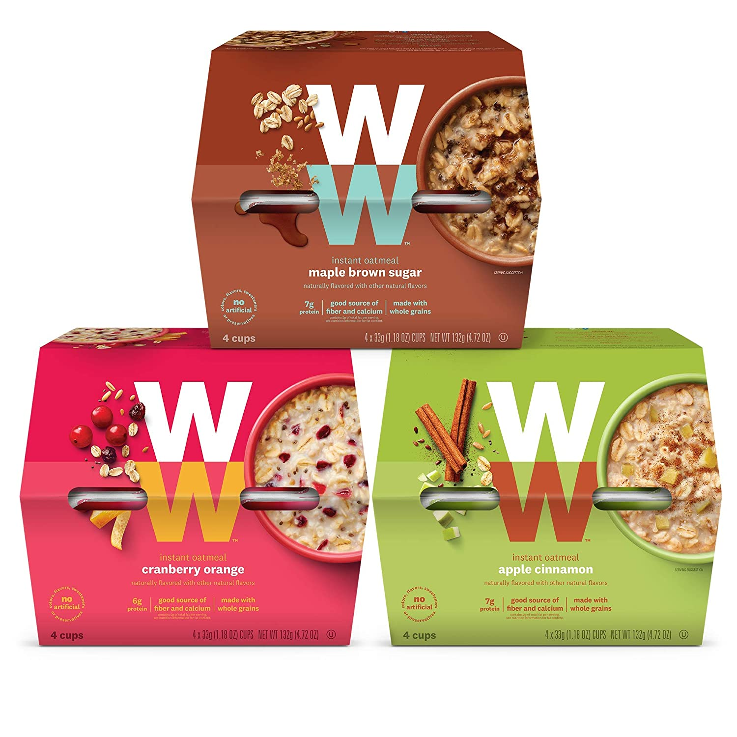 Discontinued: WW Instant Oatmeal Variety Pack- Apple Cinnamon, Maple Brown Sugar, Cranberry Orange - 3 SmartPoints - 4 of Each Flavor (12 Count Total) - Weight Watchers Reimagined