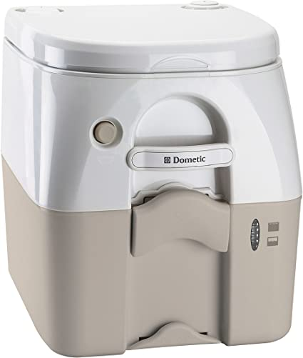 Tan Dometic 301097502 Portable Toilet w//Stainless Steel Hold-Down Brackets