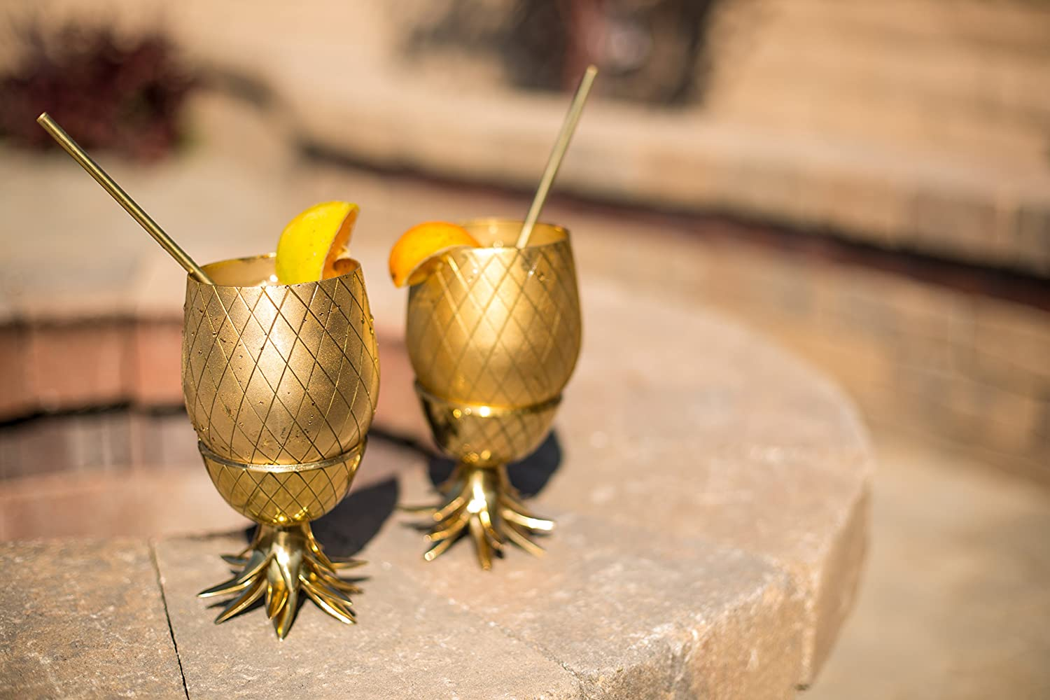 Amazon.com: 20oz Brass Pineapple Mug, Pineapple Cocktail Mug with Straw by  Om Creation: Kitchen & Dining