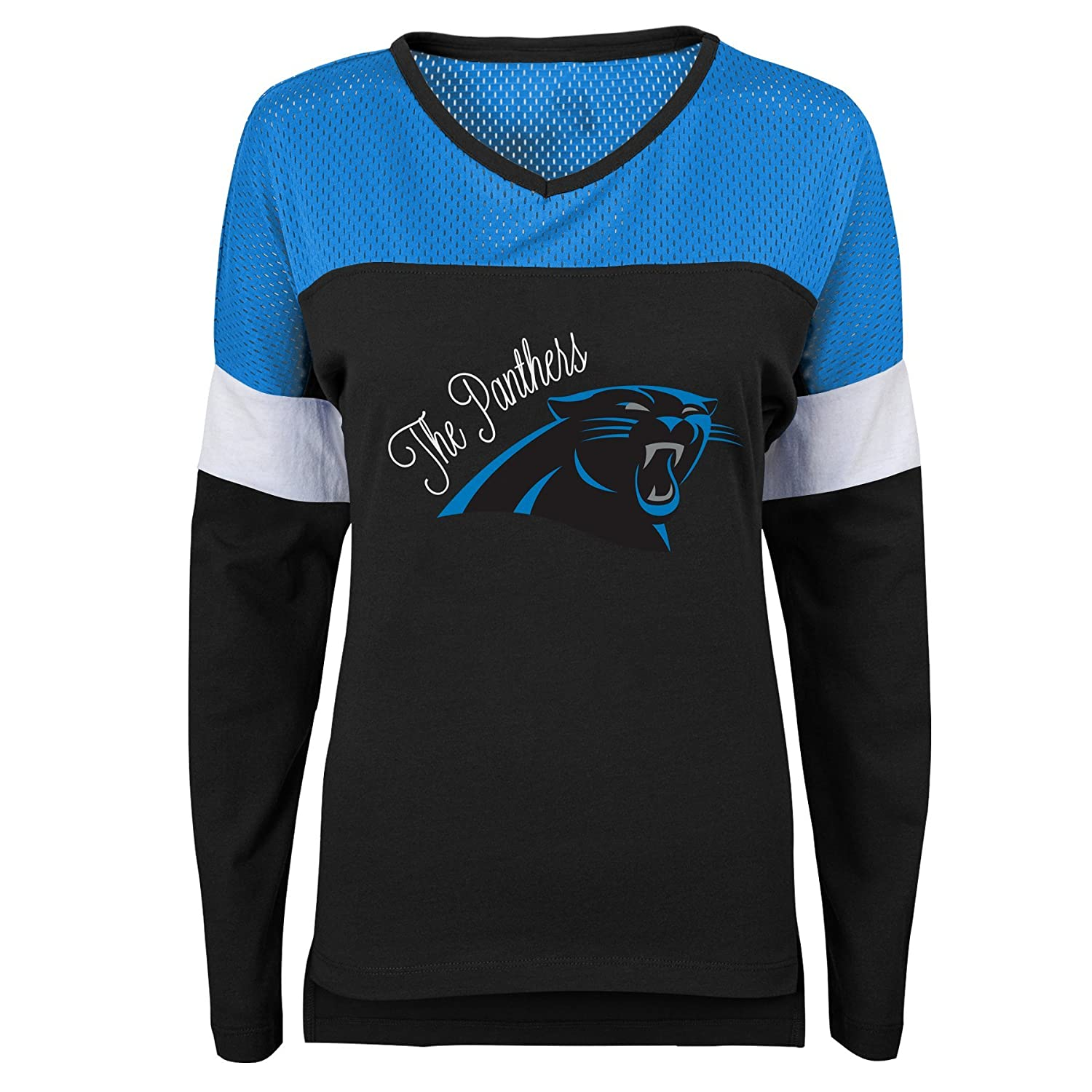 Juniors X-Small 0-1 Outerstuff NFL NFL Carolina Panthers Juniors Team Blocker Long Sleeve Tee Black