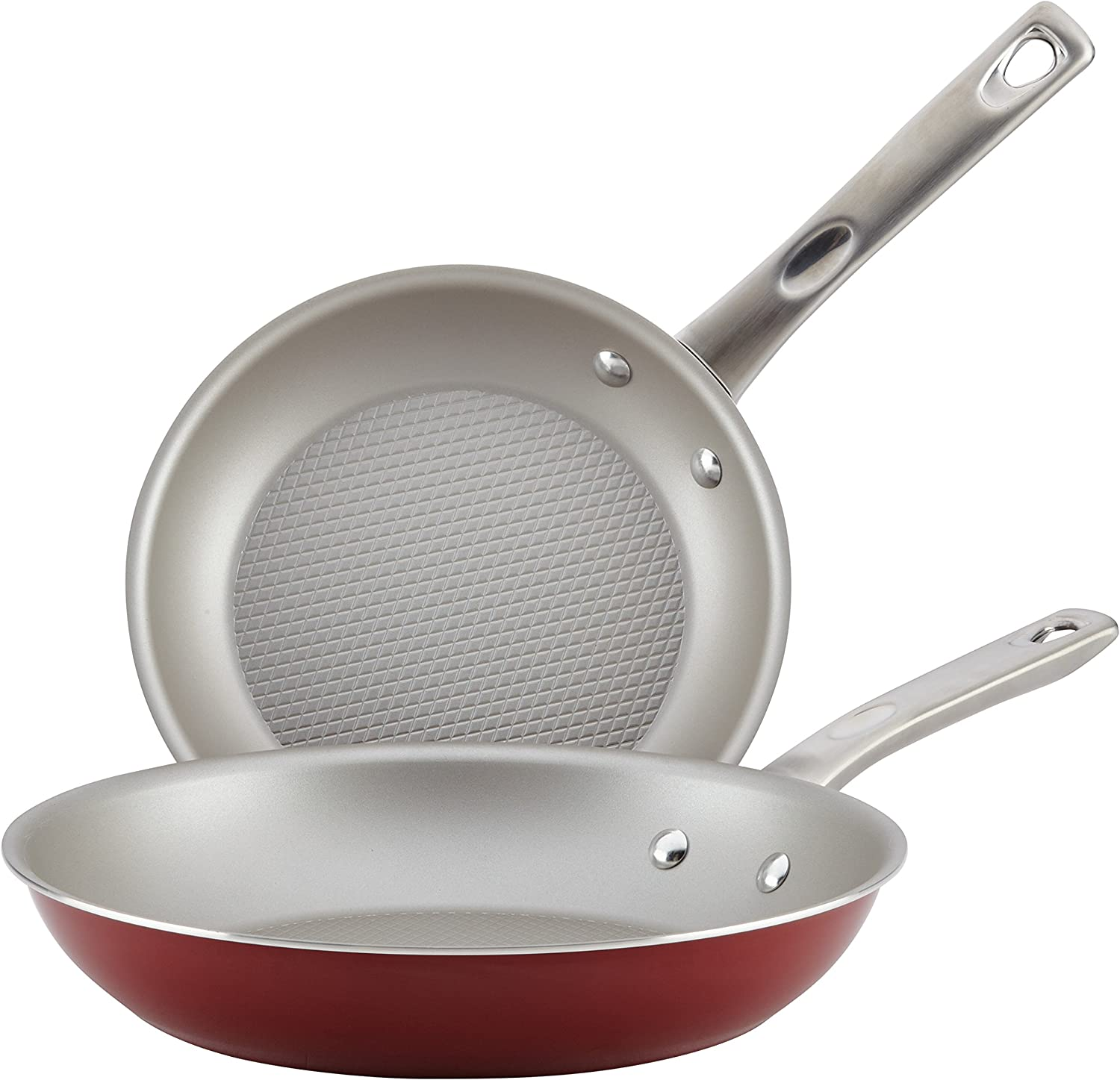 Ayesha Curry Home Collection Nonstick Frying Pan Set / Fry Pan Set / Skillet Set - 9.25 Inch and 11.5 Inch, Red