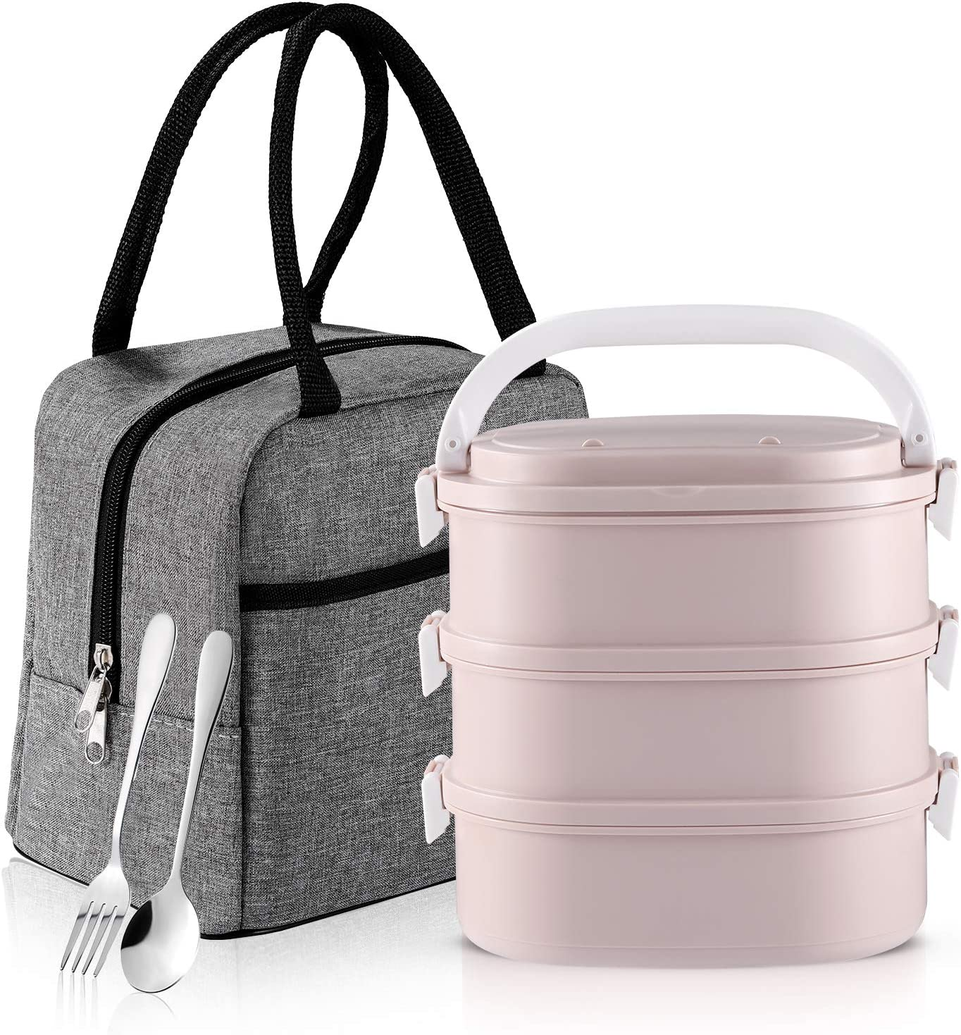 Bento Box, Slaipo 3-In-1 Lunch Box with Insulated Lunch Bag Fork Spoon, Built-in Stainless Steel Container, and Sealing Lids, Stackable Leak-proof Lunch kit for Adult Student Kids (3 Tiers, Pink)