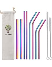 """ALINK Rainbow Reusable Stainless Steel Metal Straws 9'',10.5"""" Drinking Straws Reusable 8 Set,12mm for Boba Tea ,Smoothie,6mm Wide for Yeti, RTIC, Starbucks Jars, Mason Tumblers(4 Straight+4 Bent +2 Brushes+1 bag)"""