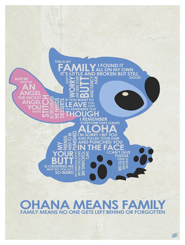 355b40045c Amazon.com: 'Ohana Means Family Word Art Print Poster (9