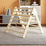 Benarita Pikler Triangle Foldable Wooden Climbing Triangle Ladder for Climbing Indoor Kids Play Gym Easy to Store Suitable fo
