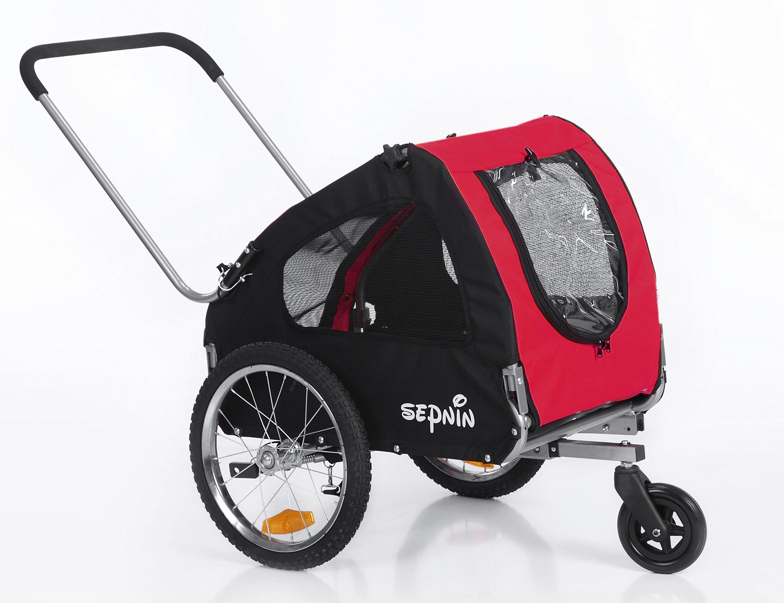 Sepnine pet Stroller of 2 in 1 Pet Dog Bicycle/Bike Carrier/Trailer/Jogger 10305 (Red/Black)