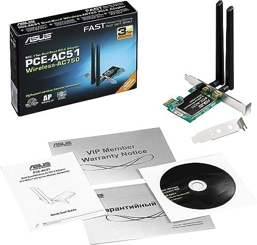 Asus Pce Ac51 Pcie Card Wi Fi 5 Ac750 2x External Antennas Dfs
