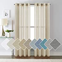 Natural Linen Blended Curtains Semi Sheer Textured Linen Curtain Draperies Light Filtering Privacy Eyelet Winow Curtain…