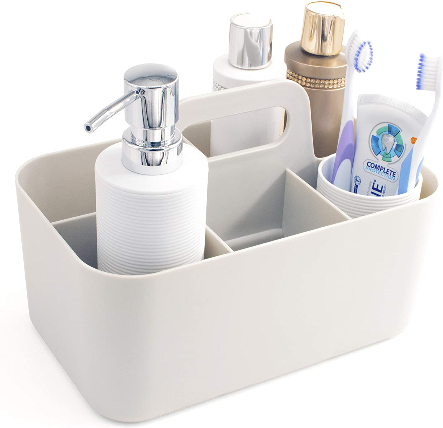 Lib Bathroom Caddy Organizer – Portable Plastic Storage Tote – Shower Toiletries Caddy – Divided Gray Basket – Utility Organizer for Women and Men – Ideal for Dorms, Vanities, and Kitchens
