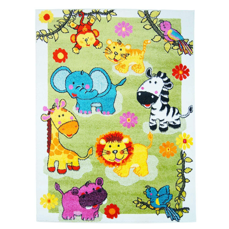 Carpet city Kinderteppich Moda Tierparty an der Wiese Multi Grün Creme Gelb Türkis Öko Tex Größe 190 280 cm