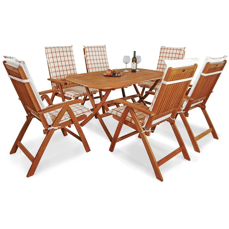 indoba® IND-70064-BASE7 + IND-70410-AUHL - Serie Bangor - Gartenmöbel Set 13-teilig aus Holz FSC zertifiziert - 6 klappbare Gartenstühle + klappbarer Gartentisch + 6 Comfort Auflagen Karo Orange
