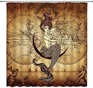 Jingjiji Nautical Decor Shower Curtain Vintage World Map Sea Route Sexy Mermaid Marine Life, Antique Art Nostalgic Design Bathroom Decoration Polyester Fabric with Hook 70 X 70 Inch Brown