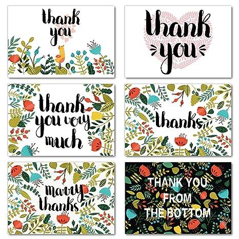 Amazon.com: Ohuhu 48 tarjetas de agradecimiento, 6 diseños ...
