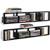 You-Have-Space Wall Mount 34 Inch Media Storage Rack CD DVD Organizer Metal Floating Shelf Set of 2 Black