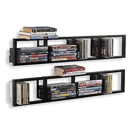 Attirant Wall Mount 34 Inch Media Storage Rack CD DVD Organizer Metal Floating Shelf  Set Of 2