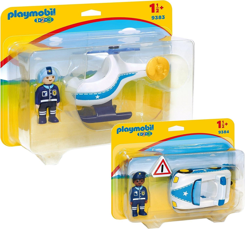 Playmobil 1-2-3 Policia Set: 9383 Helicóptero de la Policía & 9384 Coche de Policia