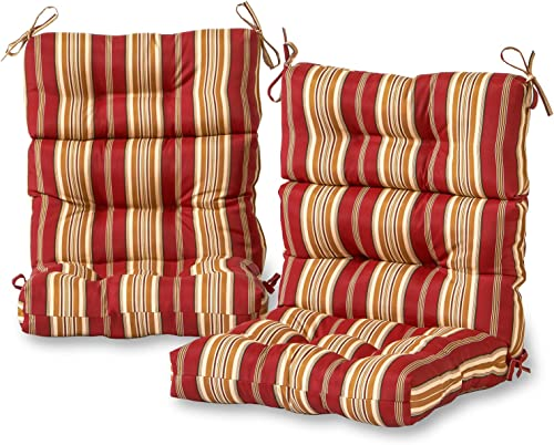 Greendale Home Fashions Outdoor High Back Chair Cushion set of 2 , Roma Stripe