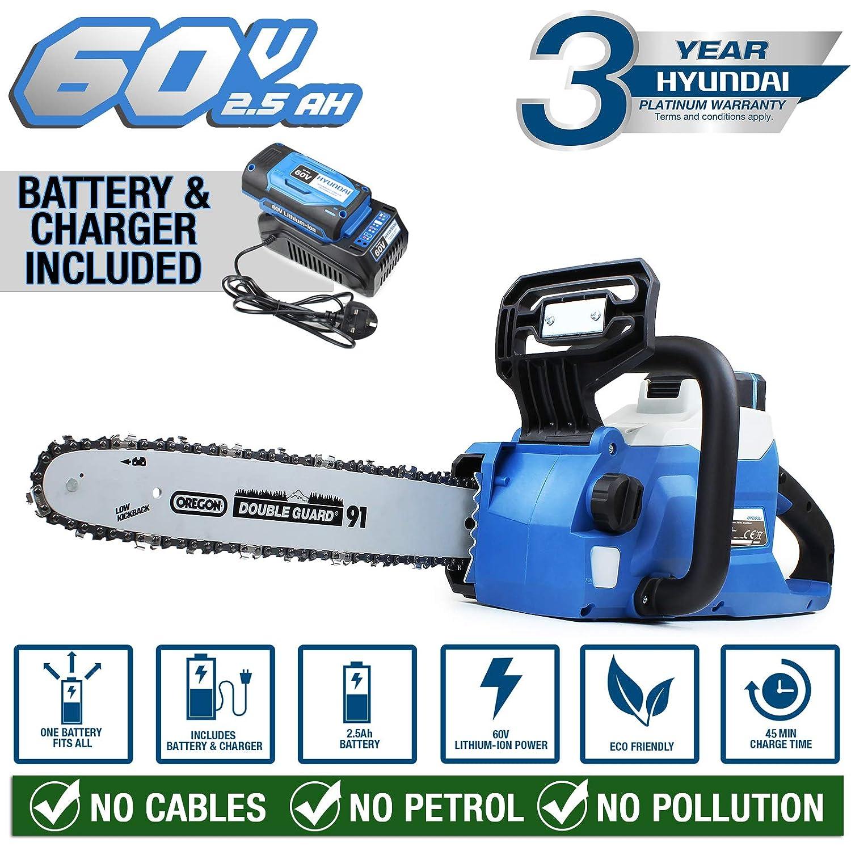 Hyundai Cordless Chainsaw 60v Lithium-ion Battery with Oregon Bar and Chain HYC60LI, Blue