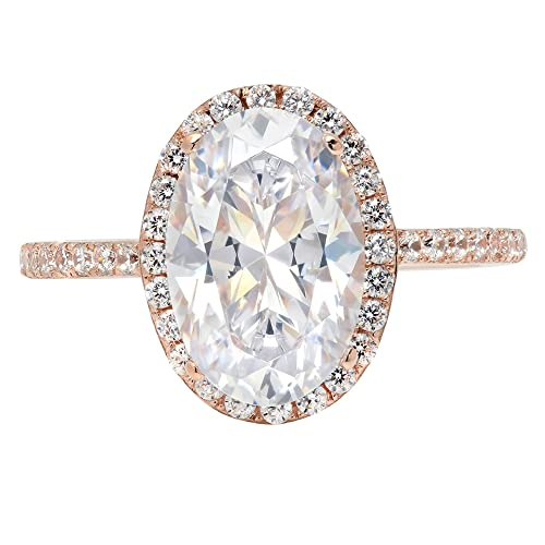 a2ad9246b27ff 3.58ct Brilliant Oval Cut Halo Statement Solitaire Ring 14k Rose Gold,  Clara Pucci
