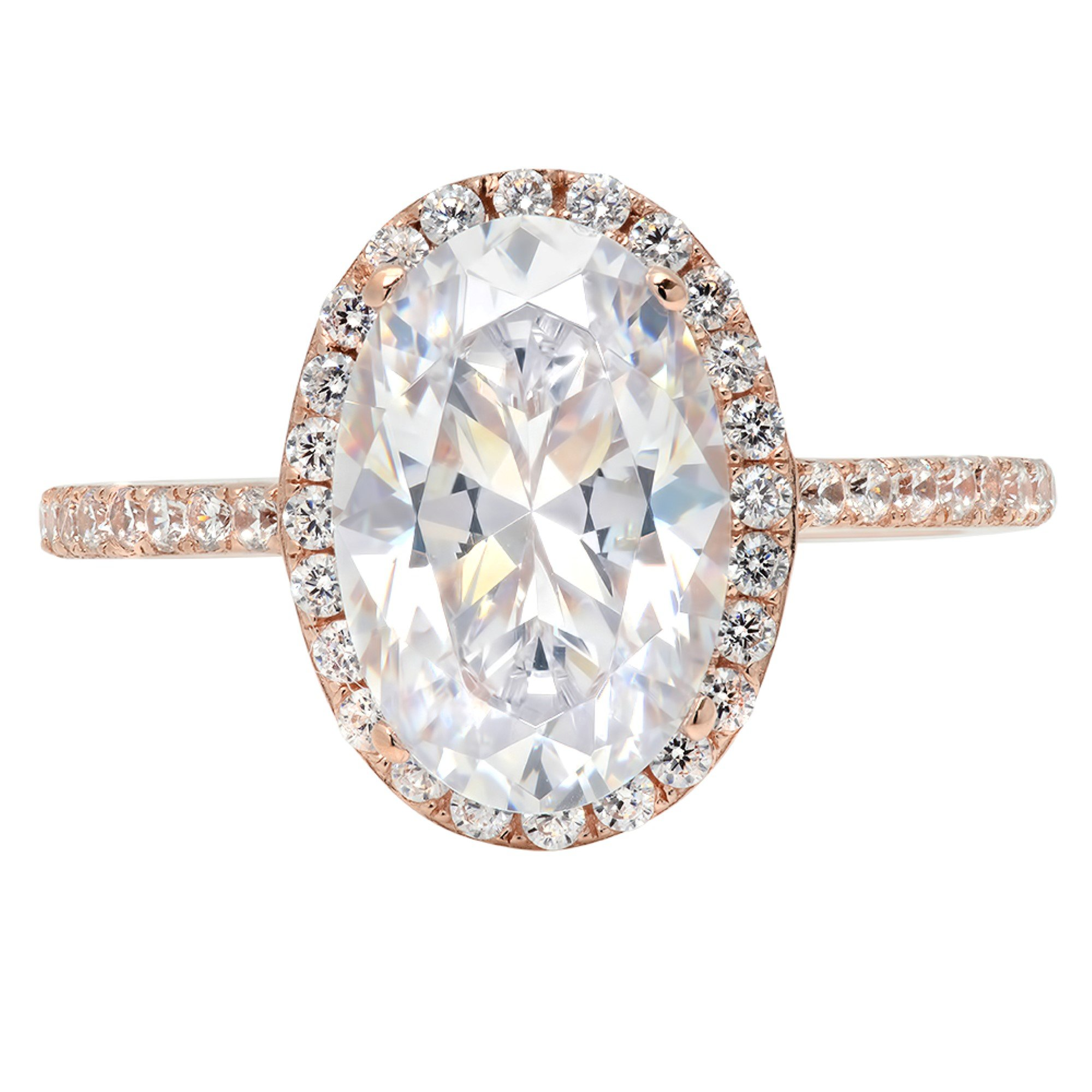 3.28ct Brilliant Oval Cut Halo Statement Wedding Anniversary Engagement Bridal Ring 14k Rose Gold, 9.25